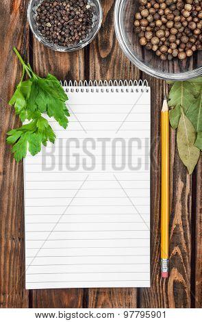 Menu Background. Cook Book Toned Image. Vintage Image Of Recipe Background. Recipe Notepad With Dive