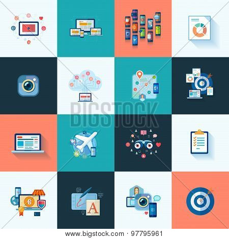 Set of modern flat design icons for application development or software app programming. Web, databa
