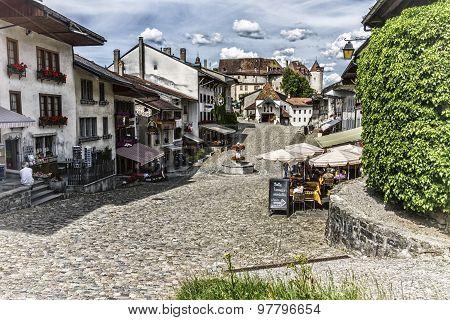 Main street in Gruyeres village, Fribourg, Switzerland