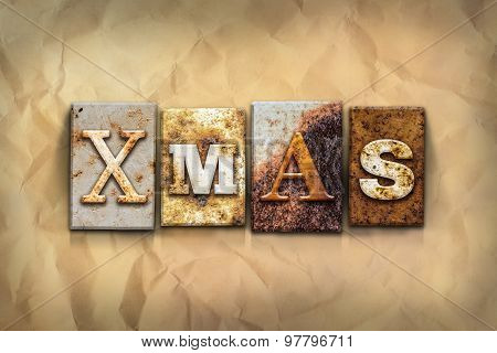 Xmas Concept Rusted Metal Type
