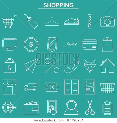 Linear shopping icon for website and app
