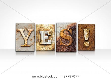 Yes Letterpress Concept Isolated On White