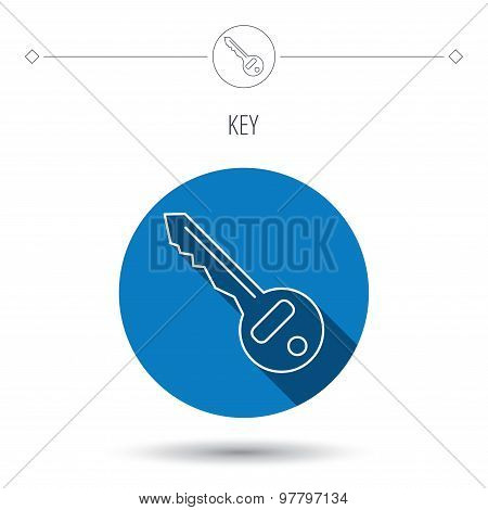 Key icon. Door unlock tool sign.