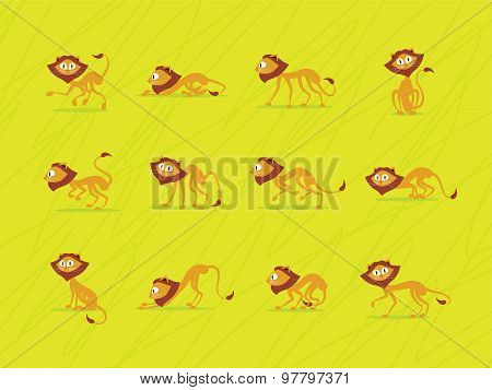 Lions on green background