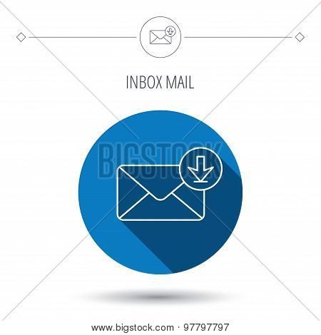 Mail inbox icon. Email message sign.