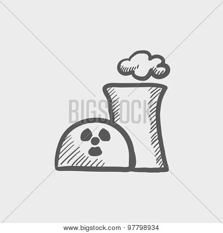 Ecology with propeller sketch icon for web and mobile. Hand drawn vector dark grey icon on light grey background.
