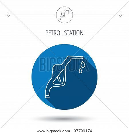 Gasoline pump nozzle icon. Petrol station sign.