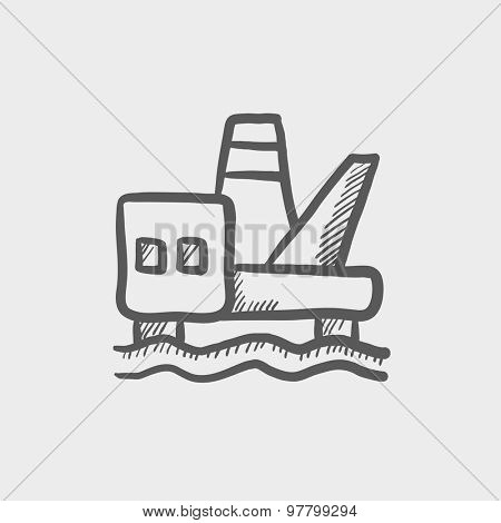 Ship sketch icon for web and mobile. Hand drawn vector dark grey icon on light grey background.