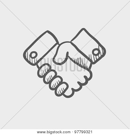 Handshake sketch icon for web and mobile. Hand drawn vector dark grey icon on light grey background.
