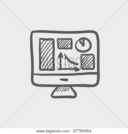 Monitor with business graph sketch icon for web and mobile. Hand drawn vector dark grey icon on light grey background.