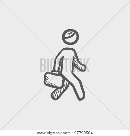Man walking with briefcase sketch icon for web and mobile. Hand drawn vector dark grey icon on light grey background.