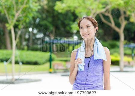 Woman listen to music after doing exercise