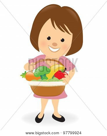 Lady holding fruit and veggie basket