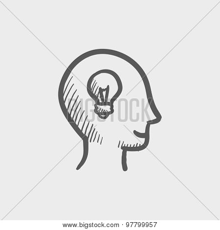 Human head with idea sketch icon for web and mobile. Hand drawn vector dark grey icon on light grey background.
