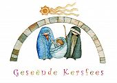 picture of manger  - illustration for Christmas whit manger end star comet with caption in Afrikaans - JPG