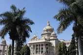 stock photo of vidhana soudha  - vidhana soudha building in bangalore with beautiful trees - JPG