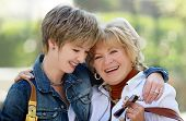 picture of mother daughter  - mother and daughter having a good time together - JPG