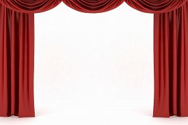 foto of curtains stage  - Background image of red silk stage curtain on theater - JPG
