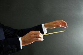 picture of nonverbal  - Music conductor hands with baton on black background - JPG