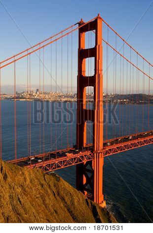 Golden Gate Bridge at sunset with San Francisco in the back