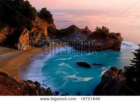 McWay Falls at Big Sur at sunset, California