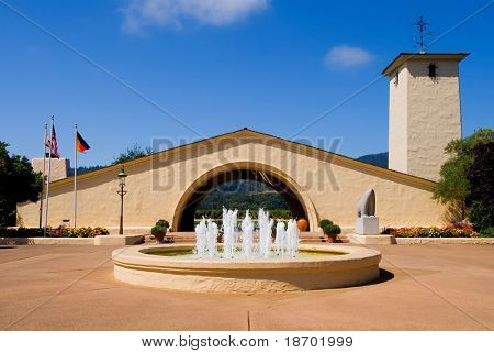 Napa Valley vineyard with fountain in front