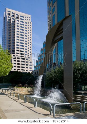 Fountain by the office buildings in downtown Sacramento California