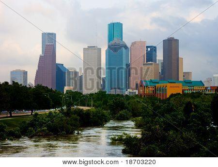 Houston downtown en un día nublado