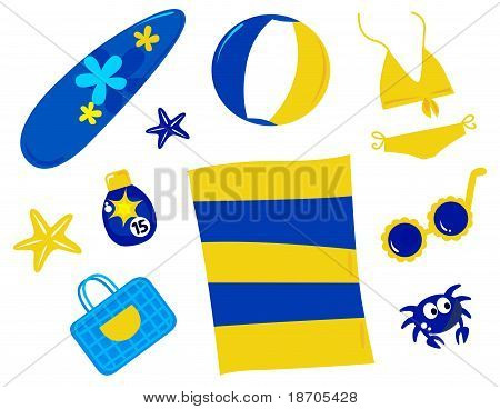Summer And Beach Icons And Accessories - Retro ( Yellow And Blue ).