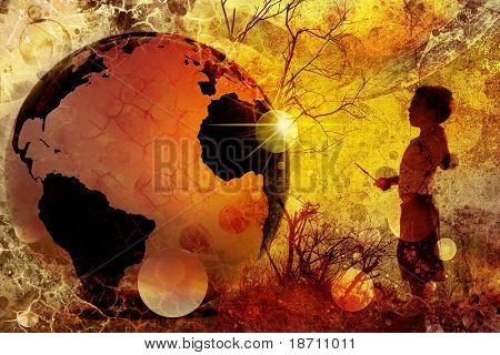 young child in nature with 3d globe