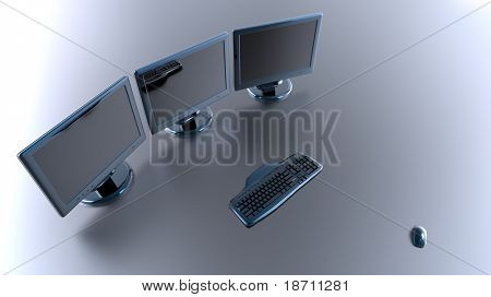 computers, monitors keyboard and mouse on grey background