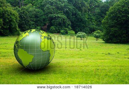 3d glossy globe in a green prairie