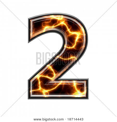 3d number with electric texture-2