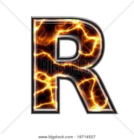 r-3d letter with electric texture