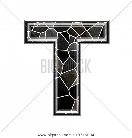 Abstract 3d letter with stone wall texture - T