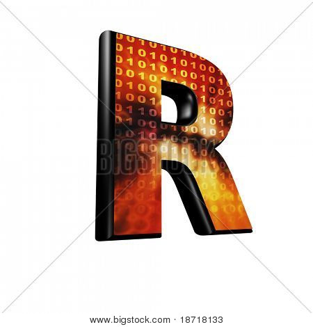 Abstract 3d letter with futuristic texture - R