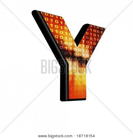 Abstract 3d letter with futuristic texture - Y