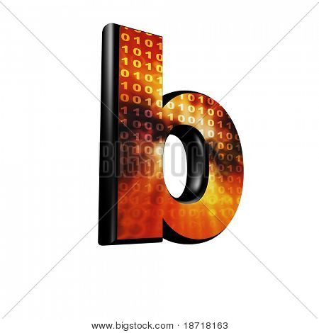 Abstract 3d letter with futuristic texture - B