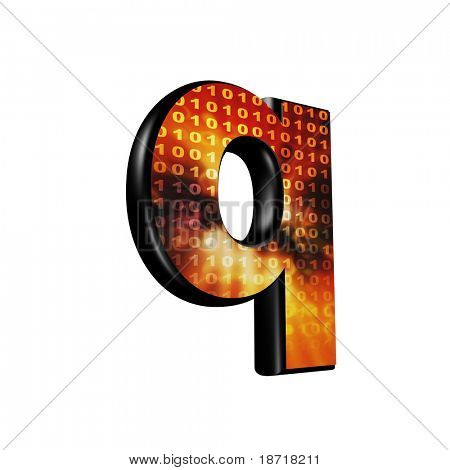 Abstract 3d letter with futuristic texture - Q