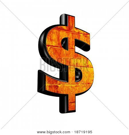 Abstract 3D currency sign with old wall texture - dollar currency sign