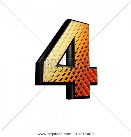 Abstract 3d digit with futuristic texture - 4