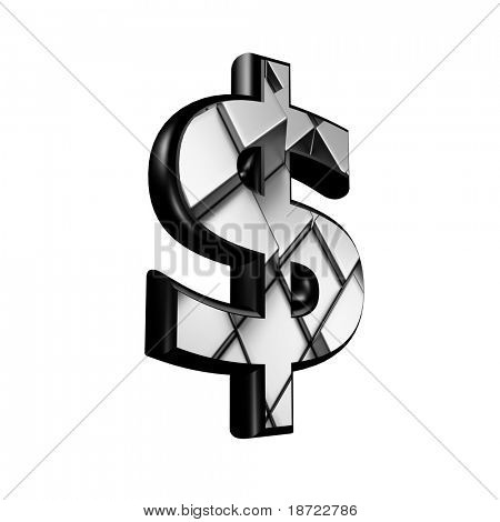 3d currency sign with architectural texture - dollar