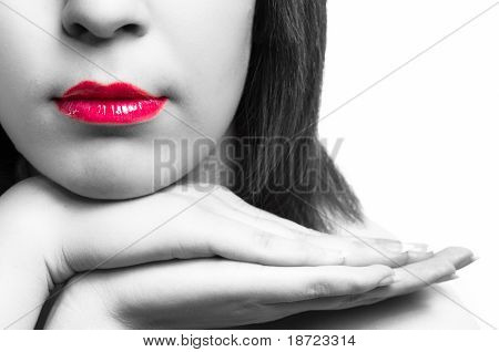 Lips Of A Girl With Her Hands In Selective Tones