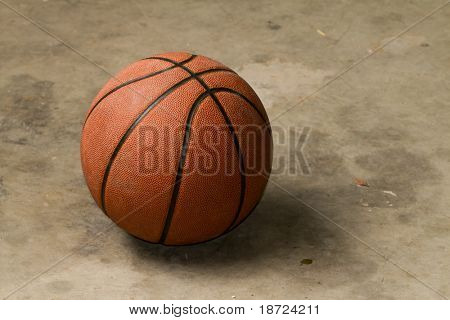 basketball on cement floor