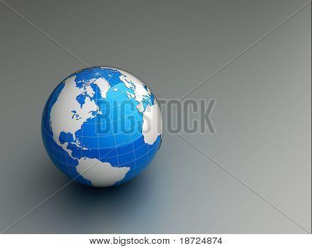 3d blue earth on grey floor