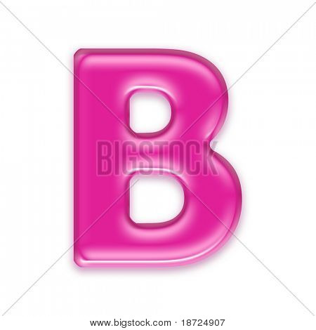 pink jelly letter isolated on white background - b