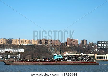 Barge Carrying Recycled Cars And Scrap Metal