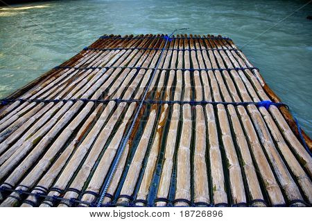 flat boat from bamboo