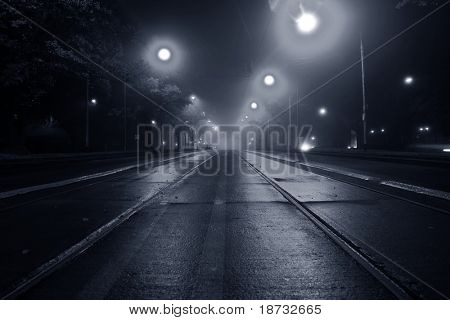 Fog on the street at night