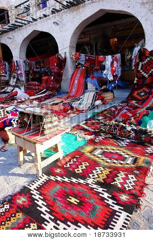 Traditional oriental carpets in Wakif souk in Doha Qatar
